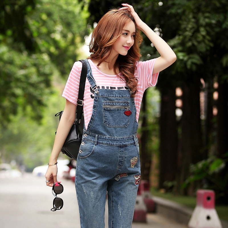 все цены на Brand Design Maternity Denim Pant Belly Denim Overalls Maternity Jeans for Pregnant Women Pregnancy Pants Autumn Spring Trousers онлайн