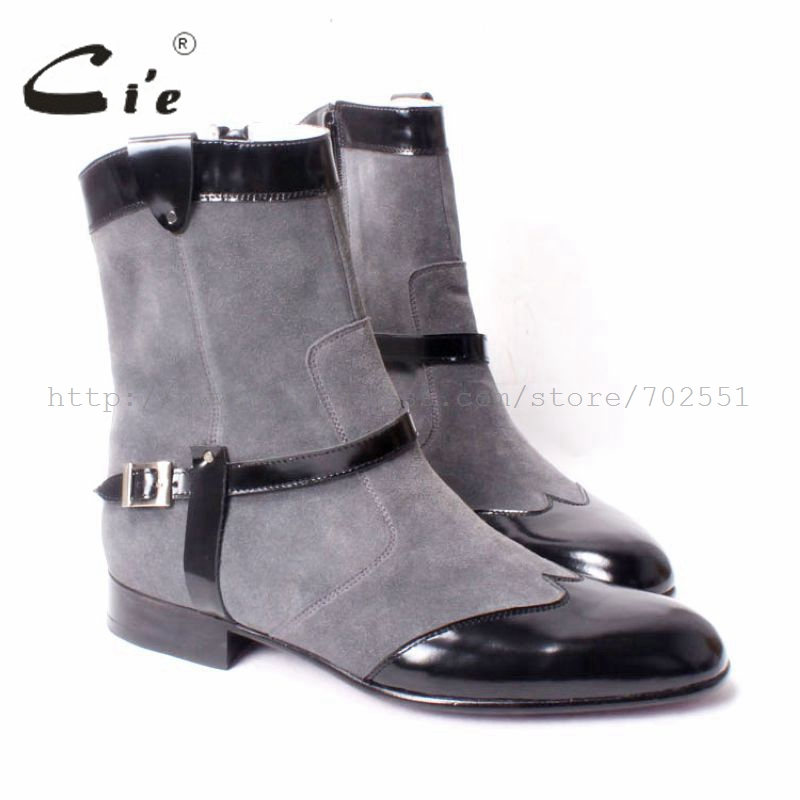 cie Free Shipping Handmade Pure Genuine Calf Leather outsole Men s Boots Color Dark Grey Suede