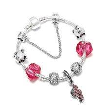 a3607be67 SPINNER Angel Wings Pendant DIY Charm Bracelet Animal Bear Pandora Bracelet  for Women Jewelry Gift
