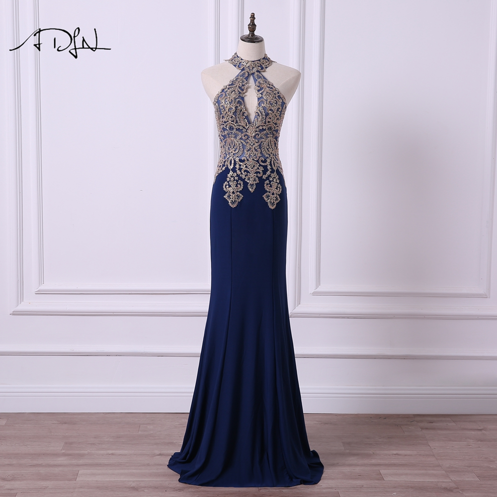 ADLN Sexy Halter   Evening     Dresses   Sparkly Sequin Illusion Bodice Mermaid Party Gown Prom Wear Robe de Soiree