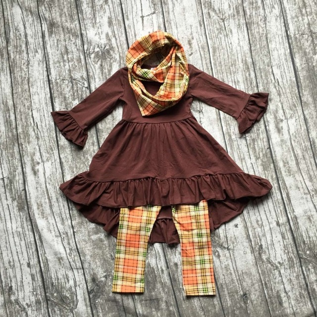 FALL OUTFITS  girls 3 pieces sets with scarf girls thanksgiving clothing baby girls boutique clothes kids brown top sets