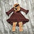 TRAJES de OTOÑO de las muchachas 3 unidades conjuntos con la bufanda de las muchachas ropa niñas boutique de ropa niños marrón mejores conjuntos de acción de gracias
