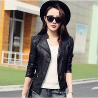 korean Women Slim Stand Collar Wine red Jackets coat leather jacket womens Jaqueta De Couro Feminina Ladies Biker Leather Jacket