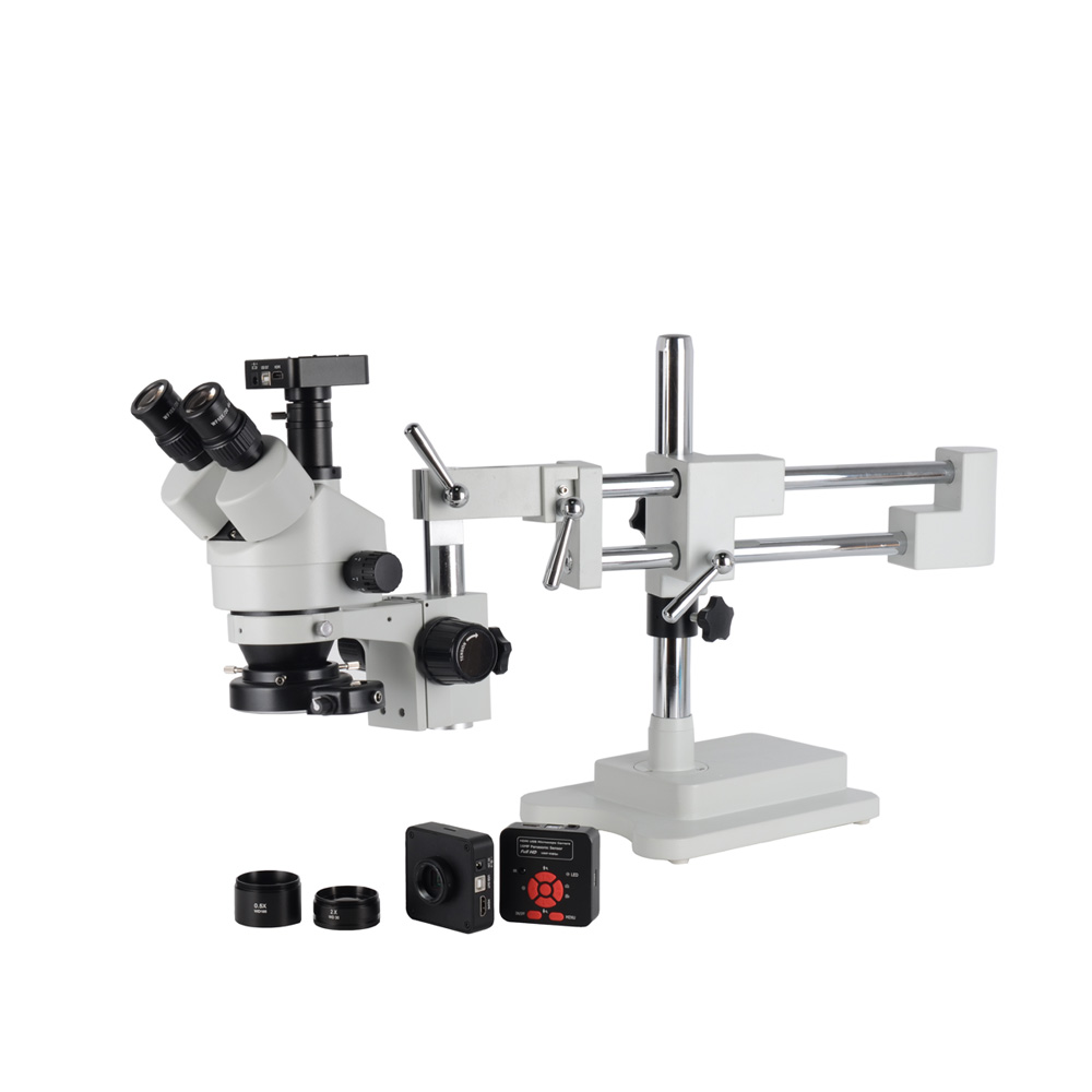 16MP HDMI usb Industry Microscope Camera 3.5X 90X Simul Focal digital Double Boom Stand Trinocular Stereo microscope 144pc light|Microscopes| |  - title=