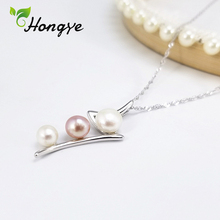 Hongye Silver 925 Necklace for Women Genuine Pearl Stylish Collar Accessories Beaded Pendant Necklace Female Fashion Jewelry stylish faux pearl flower lace necklace for women