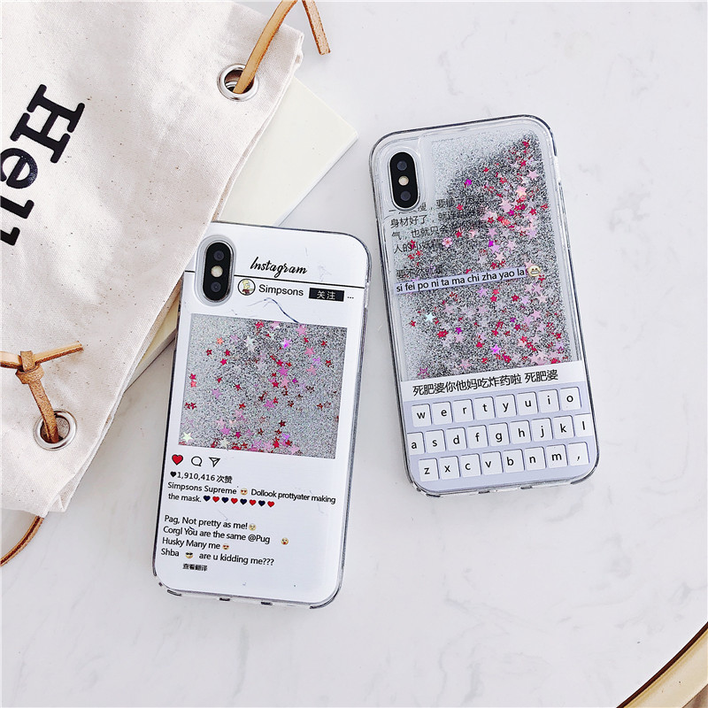Funny English Letter Quicksand Phone Case for IPhone XS XSMAX XR Mobile