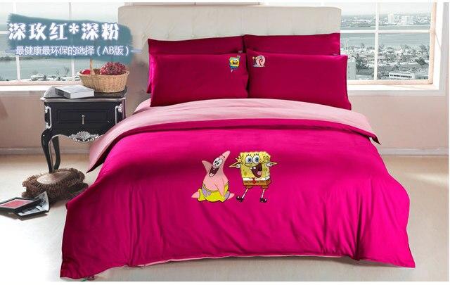 Cartoon Spongebob Queen Bed Sheets/kids Girl Pink Duvet Cover Set/girls Boy  Full