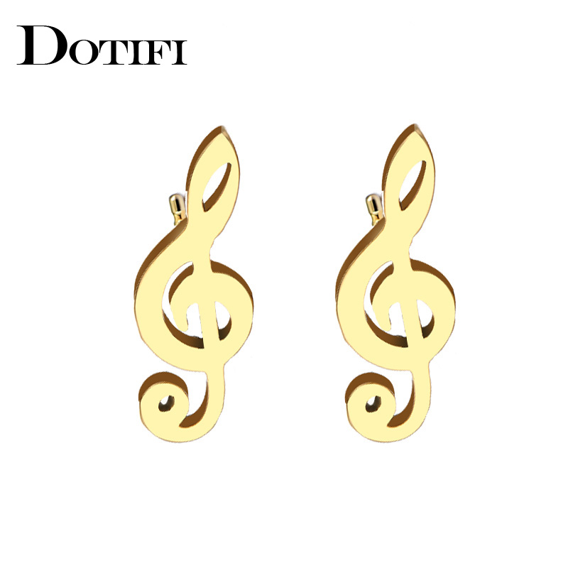 DOTIFI Stainless Steel Stud Earring For Women Man Music Gold And Silver Color Lovers Engagement Jewelry Drop Shipping