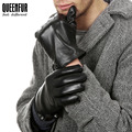 Winter Men Real Leather Gloves Fashion Genuine Sheepskin Leather Gloves Black Leather Gloves Male Warm lined High-grade Gloves