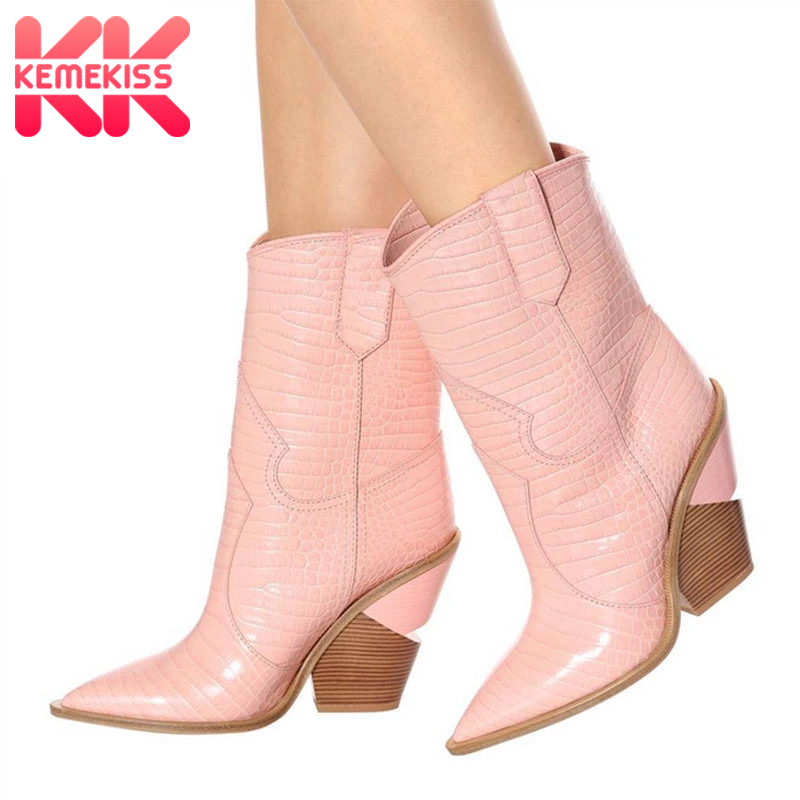 KemeKiss Women Classics Pull On Mid Calf Boots Shoes Mid Block Heel