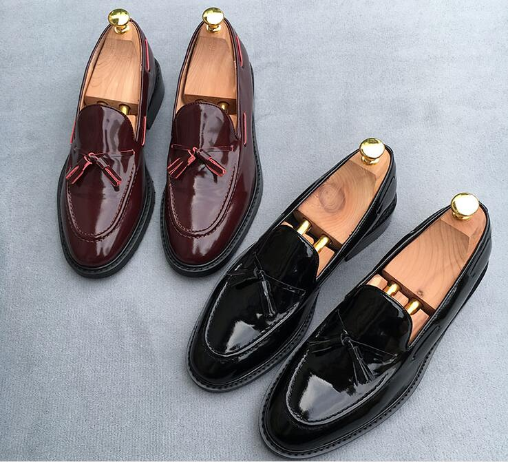 Dress shoes men slip on bowtie genuine patent leather summer moccasins smart casual shoes vintage shallow flats loafers black real leather 2017 mules summer brown european loafers men genuine shoes moccasins half male casual slip ons hot sale