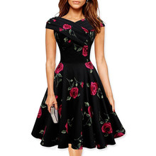 Vintage 50s Floral Print Dress Summer Women V Neck Party Dresses Vestidos Ladies  Pinup Clothes Rockabilly Dress 2018. US  11.25   piece Free Shipping b27be7b229ed