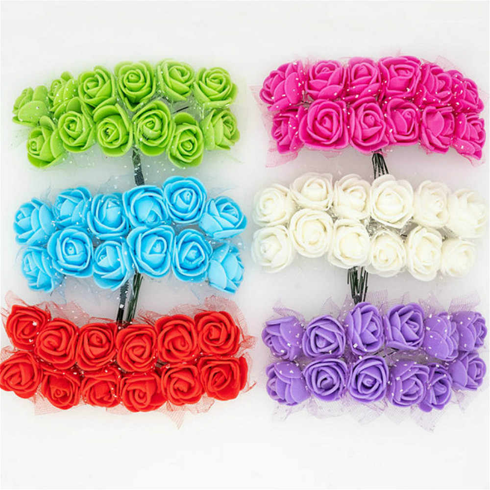 Mini Foam Rose Artificial Flowers Artificial & Dried Flowers For Home Wedding Car Decoration Wreath Decorative Bridal@2