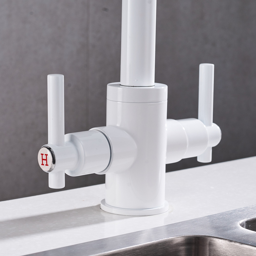 Free Shipping White color Kitchen Faucets Double Hands Round ...