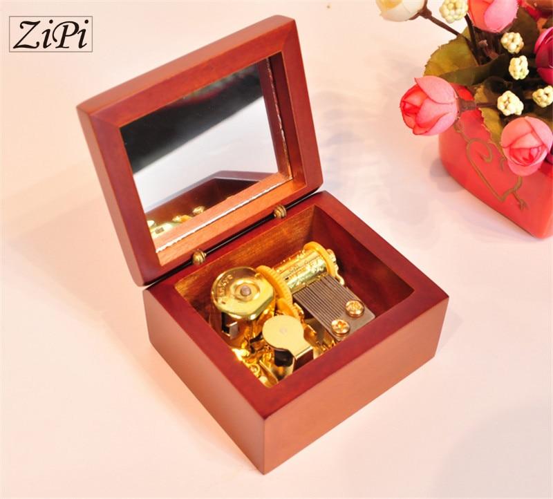 12pcs/lot New Home decoration Pear wood golden movement wooden clockwork music box birthday gift Christmas Gift