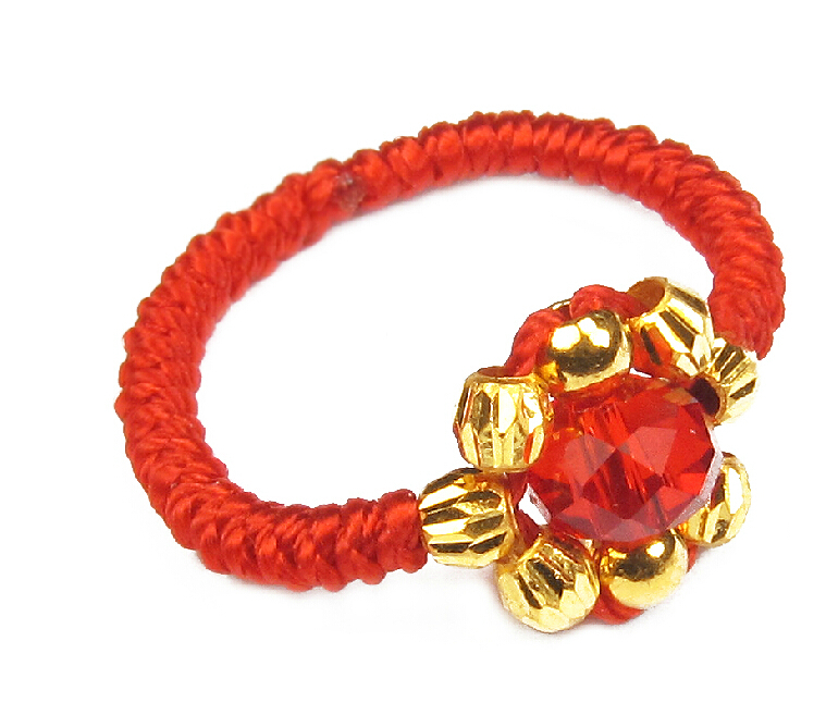 все цены на Pure 24K Yellow gold Beads Ring Red Handmade String Weave Ring 0.58g