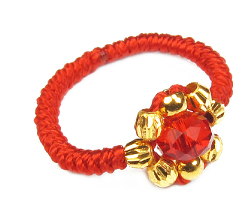Pure 24K Yellow gold Beads Ring Red  Handmade String Weave Ring 0.58g
