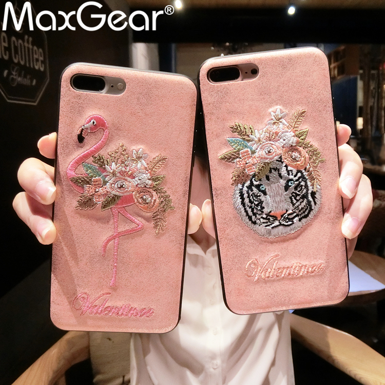 MaxGear 7 Patterns Handmade 3D Embroidery Flamingo Pink Panther Phone Case For iPhone 6 6S 7 8 Plus X Leather Tiger Back Cover