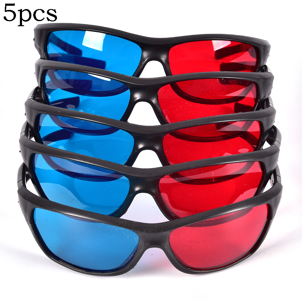 5pcs/set Frame Red Blue 3D Glasses For Dimensional Anaglyph Movie Game DVD Black image