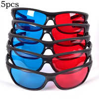 5pcs/set Frame Red Blue 3D Glasses For Dimensional Anaglyph Movie Game DVD Black