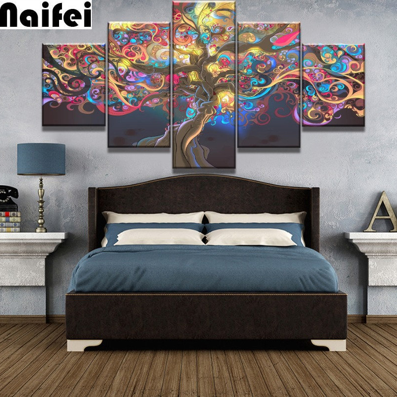 Дерево жизни набор абстрактных алмазных картин, цветные листья Алмазная вышивка 5 шт домашний декор в рамке абстрактное дерево