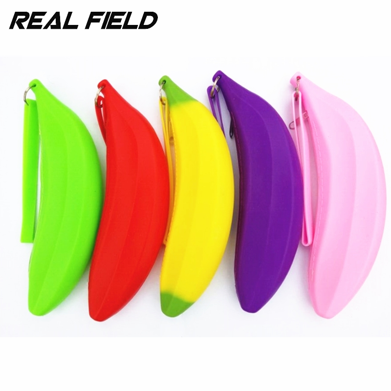 Real Field RF Kids Purse Childrens Banana Coin Purse Jewelry Case Silicone Bags Pencil Case Zipper Pouch Rubber Key Wallet 49