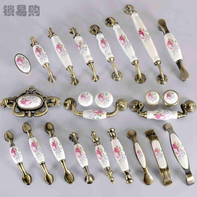1pc door pulls handles tulip ceramic door knobs cabinet wardrobe cupboard drawer knob hardware accessories home