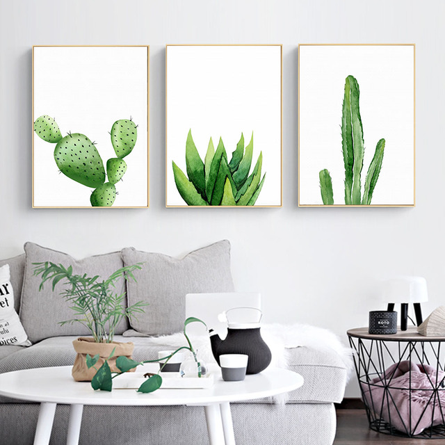 waltercolor plant cactus decor wall art canvas posters and print canvas painting wall pictures. Black Bedroom Furniture Sets. Home Design Ideas