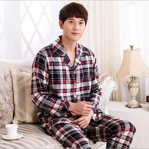 2016 Spring Autumn Winter Men's Classic Knit Cotton Long-Sleeved Mujer Invierno Pajamas Set Homewear Clothes Sleepwear