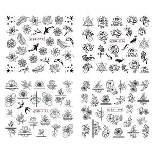 Image 4 - 12 Type Black Flower Decals Nail Art Water Transfer Sticker DIY Floral Slider Wraps Nail Paper Decor Manicure CHBN1189 1200 1