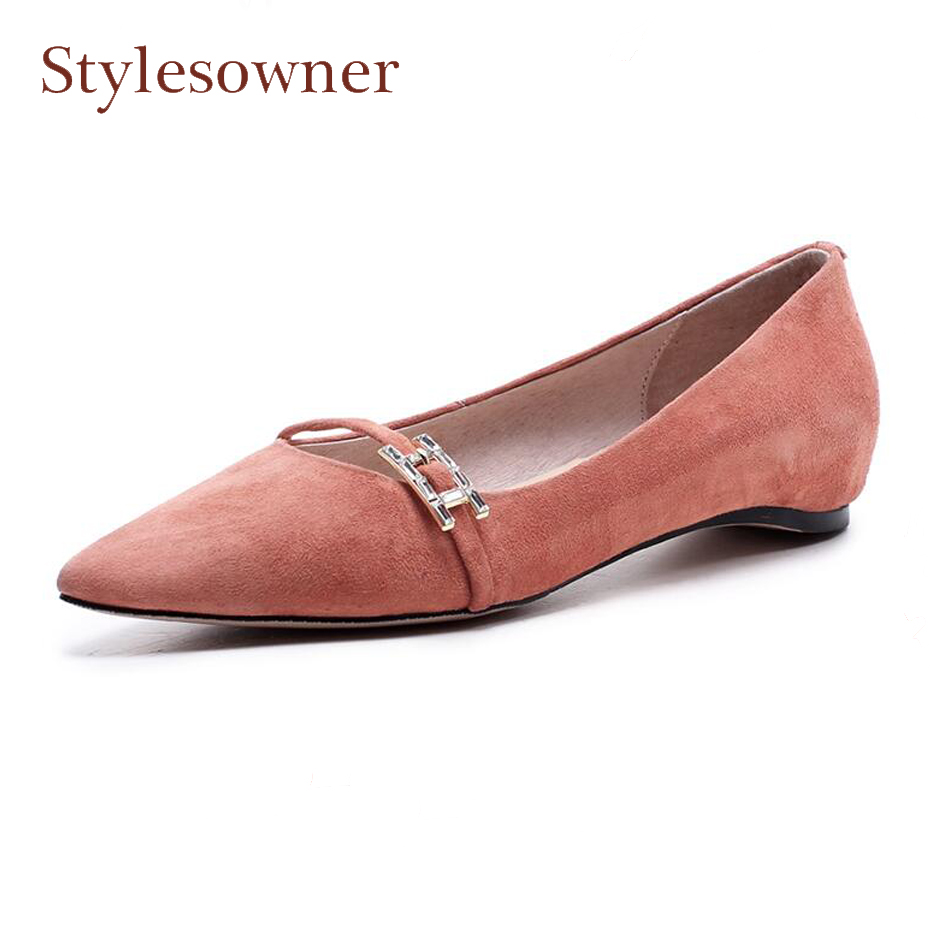 Stylesowner suede leather fashion women shoes comfortable pointed toe flat casual shoes metal buckle decor hot sale new flats new hot sale women shoes breathable buckle slip on for women comfortable dress shoes genuine leather white colour free shipping
