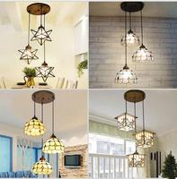 Tiffany Simple Restaurant Lamp Bar Lamp Kitchen Light Lamp Living Room Hallway Lamp LED Creative Three