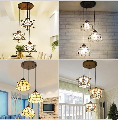 light simple restaurant lamp bar lamp kitchen light lamp living room hallway lamp LED creative three Chandelier DF117