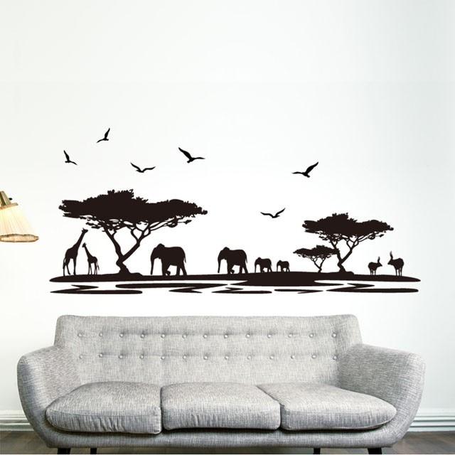 DIY Schwarz Safari Tier Wandaufkleber Kinderzimmer Elefanten Dekoration Aufkleber Zitieren Wohnzimmer WohnkulturChina Mainland