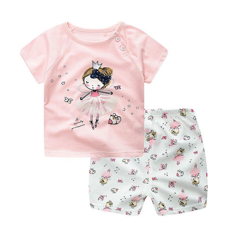 Niños ropa de algodón establece muchachas de los muchachos de manga corta camise