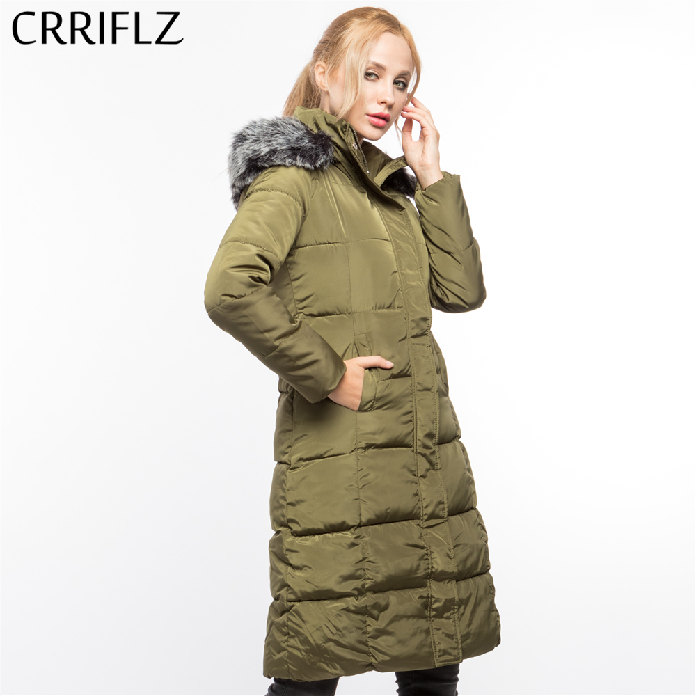 Faux Fur Long High Quality Warm Winter Jacket Women Hooded Coat Down Parkas Female Outerwear CRRIFLZ 2017 New Winter Collection 2017 new winter a doll coat jacket in the long section of fox fur coat down all female hooded women thick parkas