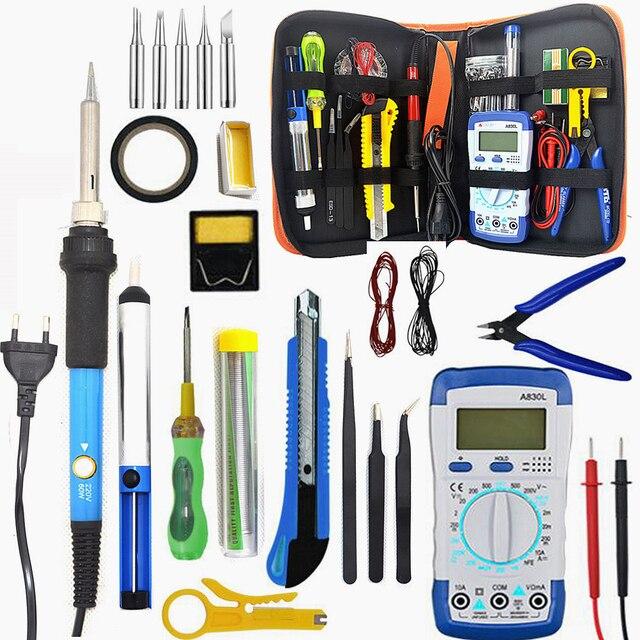 Kit fer à souder électrique 110V/220V avec multimètre, outil de soudure, pompe à dessouder 60W, température