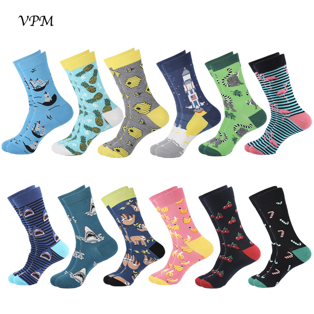 VPM 2019 New Cotton Men's Crew Socks Happy Funny Sloth Beer Flamingo Novelty Hiphop Dress Sock For Men Large Gift 12 Pairs/Lot