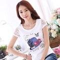 Plus Size T-shirt da Forma das Mulheres de Verão 2016 Rendas de Manga Curta O-pescoço Camiseta de Algodão Mulheres Strass Cobre T Bonito Camisetas