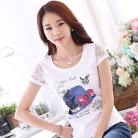 Plus Size Women S T Shirt Fashion Summer 2017 Lace Short Sleeve O Neck Cotton T