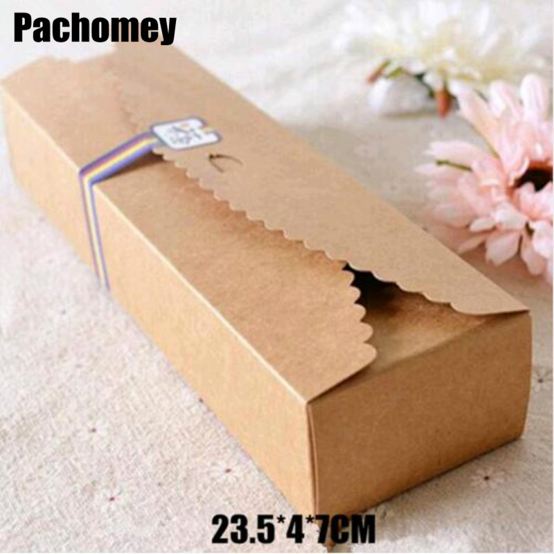 Home & Garden Food Accept Real Hot Sale Cardboard Box Macaron Packaging Caixa Kraft Paper Boxes Jewelry Cake Gift 100pcs/lot 23.5*4*7cm