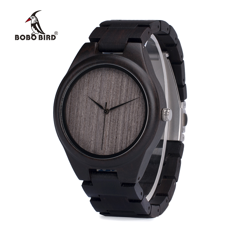 BOBO BIRD Hombre Negro Ébano Relojes de madera Reloj de pulsera de - Relojes para hombres - foto 4