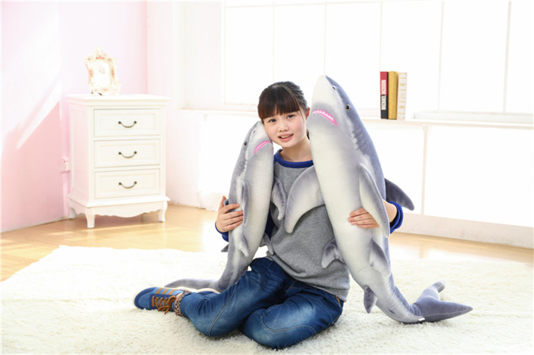 new arrival cartoon gray shark plush doll soft throw pillow toy birthday gift h2824 simulation animal lifelike shark 140cm toy plush toy throw pillow birthday gift b4921