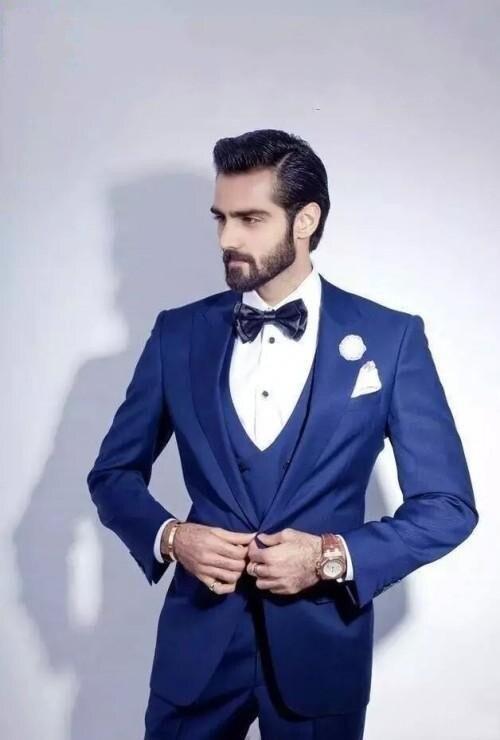 2016 Garçons Meilleur Date dîner Mariage Costumes Gilet Pantalon D'honneur veste B525 Revers Bleu Smoking Homme Cravate Roral Maximale Marié De rwrdqOX