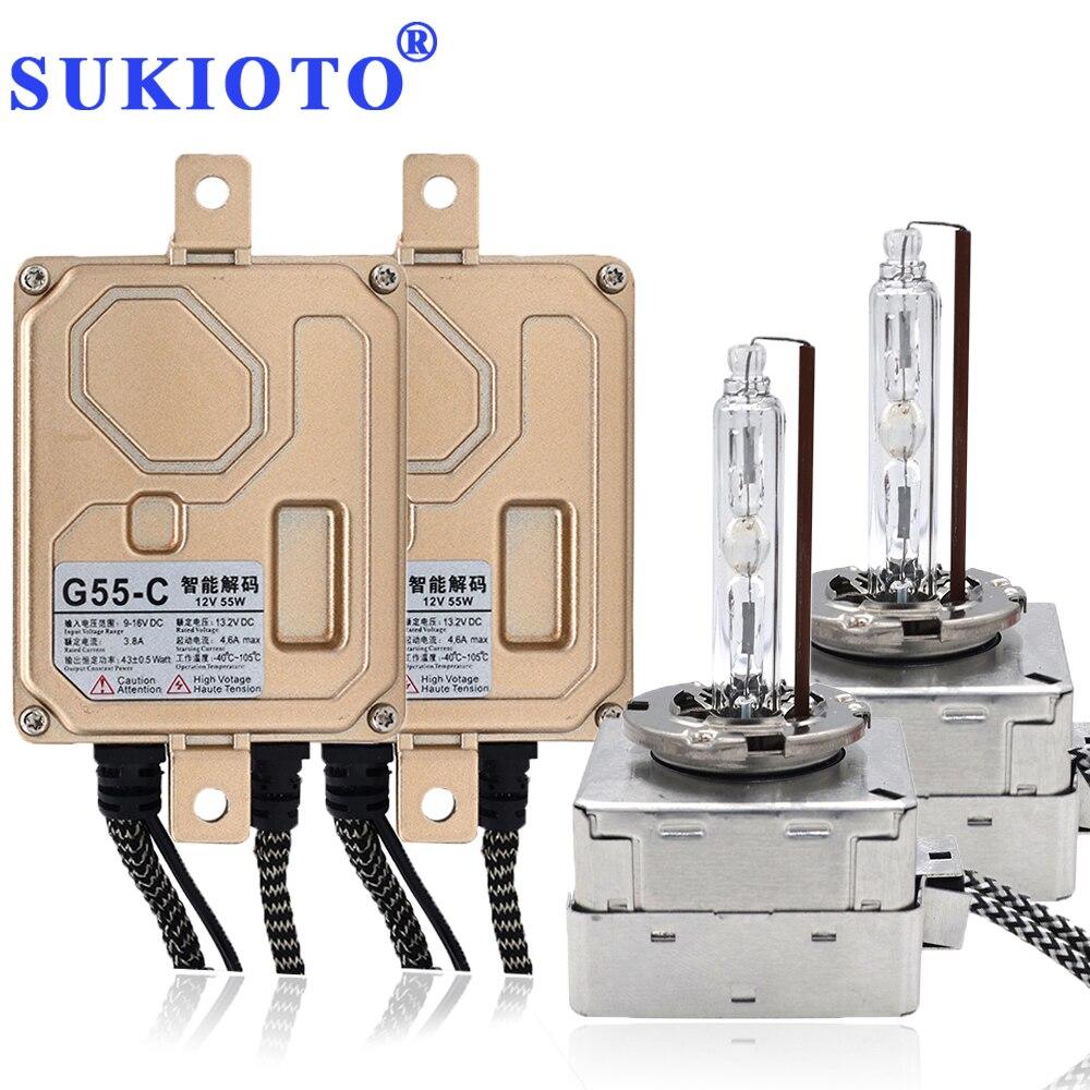 SUKIOTO 55W Xenon D5S xenon hid Bulb Kits No Error CANBUS D5S 5500K hid Car headlights for K3 Tiguan Superb Malibu 9285 410 171 akg d5s