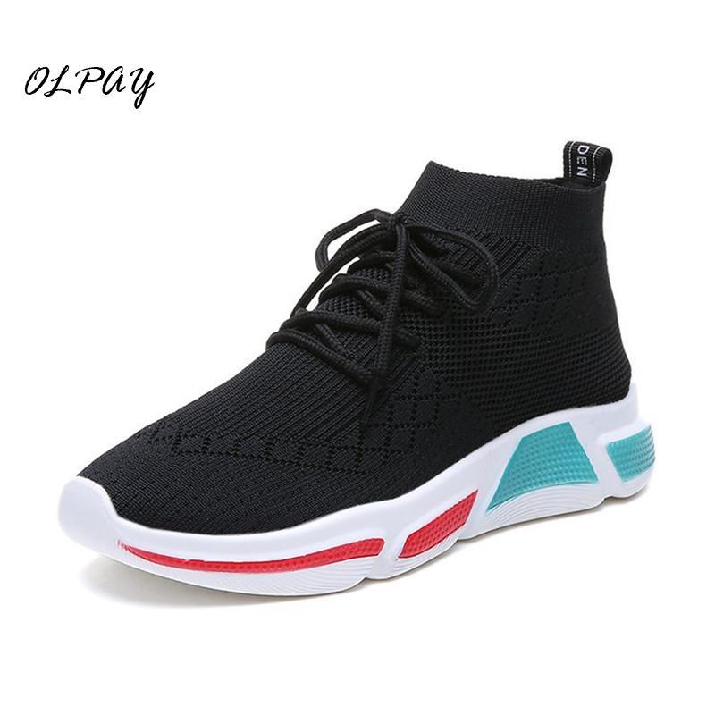 2019 nouvelles femmes Sneaker Stretch chaussures à tricoter printemps appartements maille respirant décontracté chaussette chaussures femme Drop Shopping Plus expédition