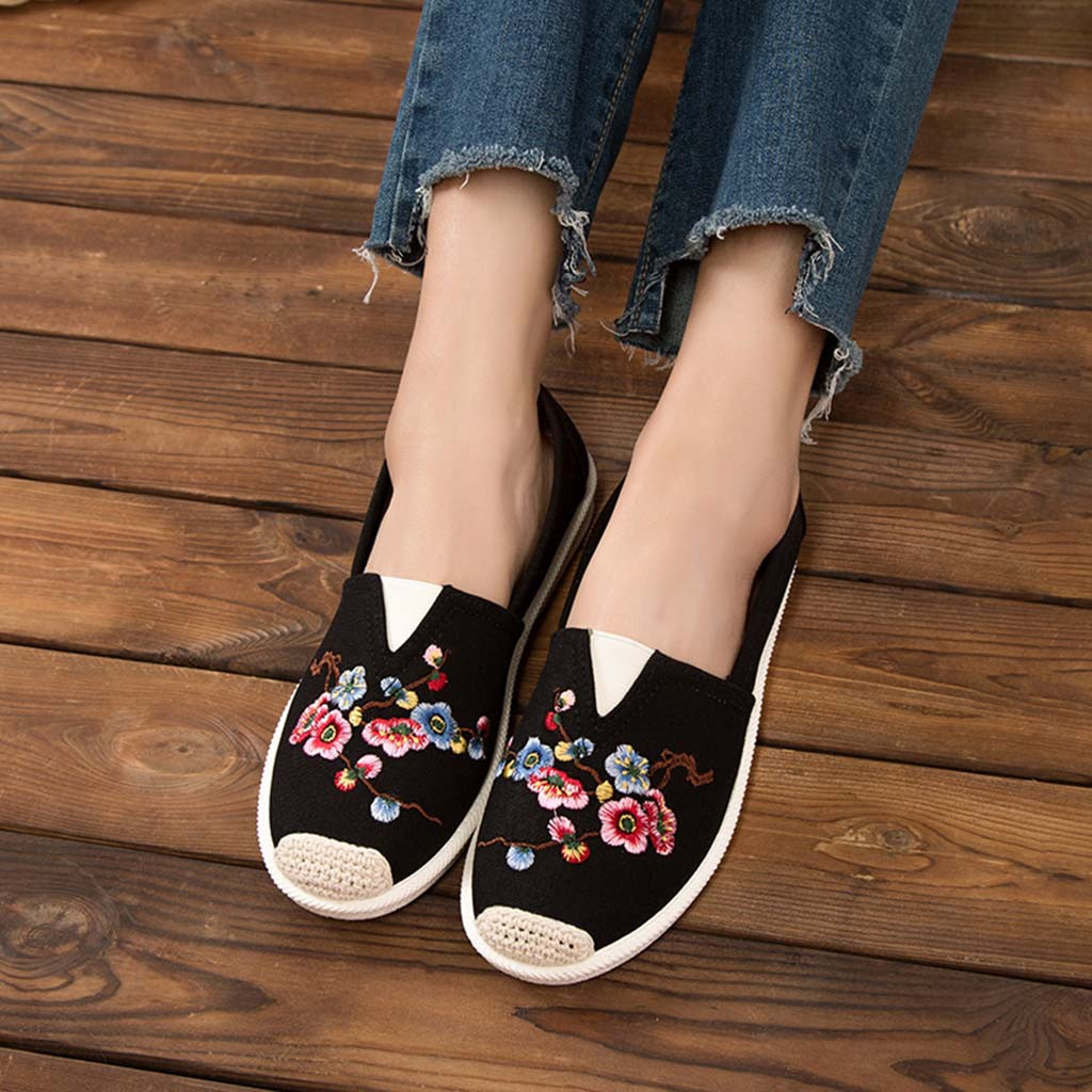 Women Flat Shoes Embroidery Eyes Moccasins For Woman Espadrille Slip On Female Casual Loafers Ladies Fashion Shoe