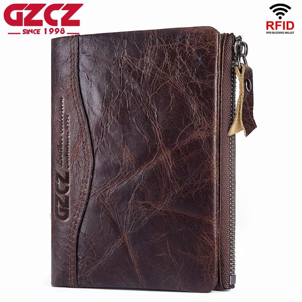 HOT Genuine Crazy Horse Cowhide Leather Men Wallet RFID Male Cowhide Purse Coin Pocket Photo Card Holder High Quality Designer