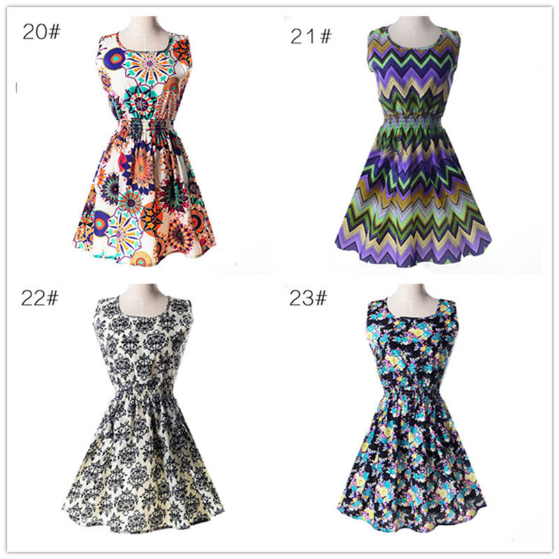 Woman Beach Dress Summer Boho Print Clothes Sleeveless Party Dress Casual Short Sundress Floral Dress Peacock Feathers Dresses (6)