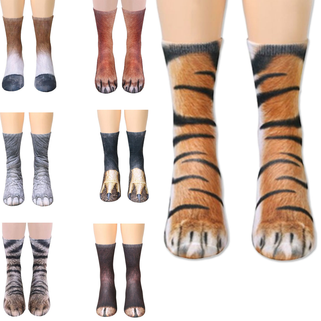 2019 New 3D Print Animal Foot Hoof Paw Feet Crew   Socks   Adult Digital Simulation Funny   Socks   Unisex Tiger Dog Cat Happy   Sock